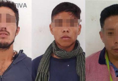 Detienen a tres sujetos por robo y delitos contra la salud